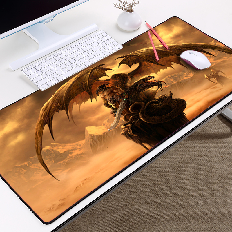 Mairuige Handsome Dragon Pattern Huge Monster Game Gaming Table Mousepad and Large Size 900x400 for Office/gift/game Tablemats