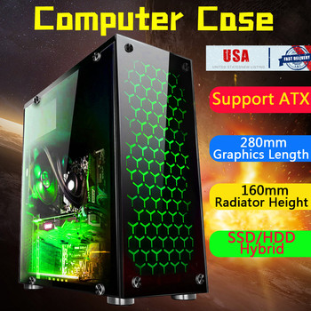 S SKYEE 7xPCIE Gaming Computer Case Cover Side Translucent 4x12cm Fans Chassi for ATX 38.5x18x42cm Tower Computer Gaming PC Case