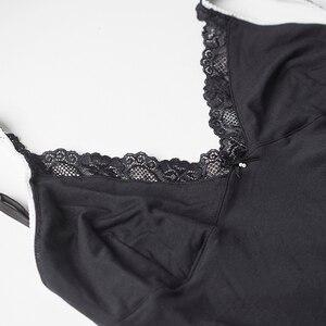 Image 5 - Women Sexy Lace Nightgowns Sleepshirts Ladies Knee Length Spaghetti Strap Sleepwear Nighty Plus Size Nightdress 6XL Pijama 2520
