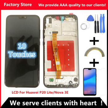 2280*1080 AAA Quality LCD With Frame For HUAWEI P20 Lite Lcd Display Screen  For HUAWEI P20 Lite ANE-LX1 ANE-LX3 Nova 3e