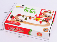 Candice Guo Wooden Toy Wood Car Bus Tree Circular Orbit Track Hand Work Play House Game