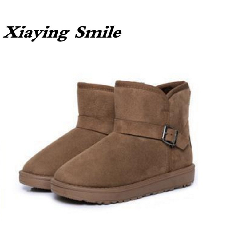 Xiaying Smile Winter Woman Snow Boots Ankle Boots Buckle Strap Solid Platform Slip On Women Flats Casual Flock Fur Women Shoes