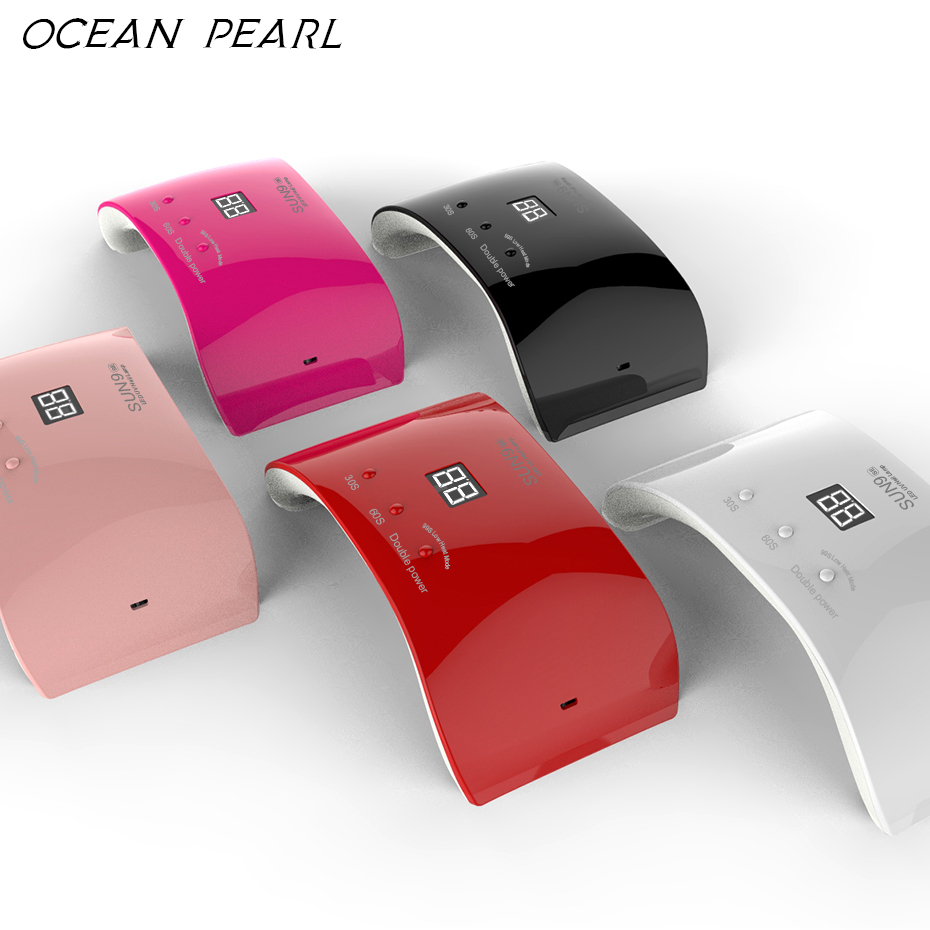 OCEAN PEARL 24W LED UV lamp nail dryer Auto sensor 12pcs leds Double light Nail Lamp UV Gel Polish Nail Art Tools new arrival in Nail Dryers from Beauty Health