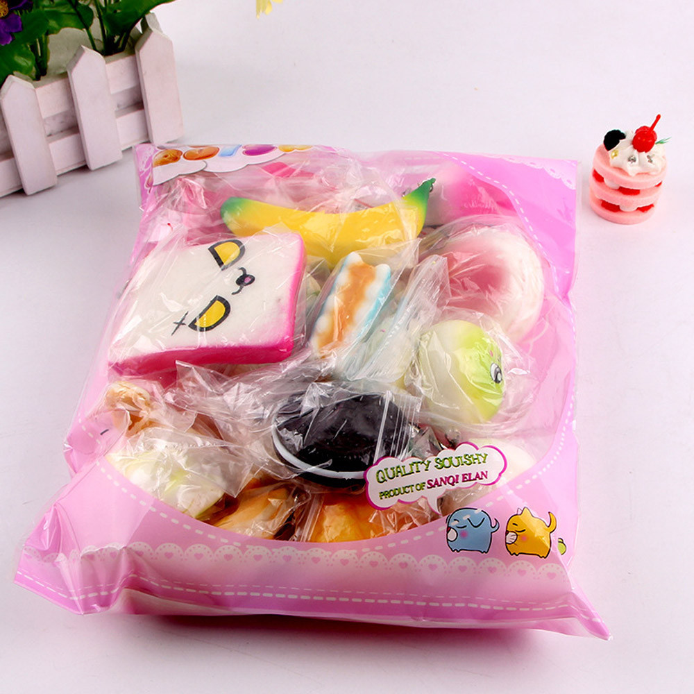 10Pcs Mini Soft Medium Mini Soft Squishy Bread Toys Key For Children Adults Relieves Stress Anxiety Cabinet Decor Q07