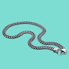Erkek 925 tay gümüş kolye Vintage tarzı yılan zincir tasarım 66cm boyutu katı gümüş takı parti aksesuarları doğum günü hediyesi