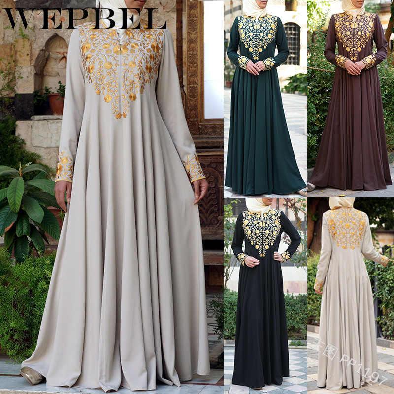 Wepbel Women New Fashion Vintage Elegant Muslim Maxi Dress Cape Long
