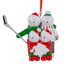 Resin Snowman Family Shovel Of 4 Christmas Ornaments Personalized Gifts Write Own Name For Holiday or Home Decor