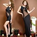 Super sexy sleeveless T-shirt noble Satin  gauze stitching repair split type clothing cheongsam dress height