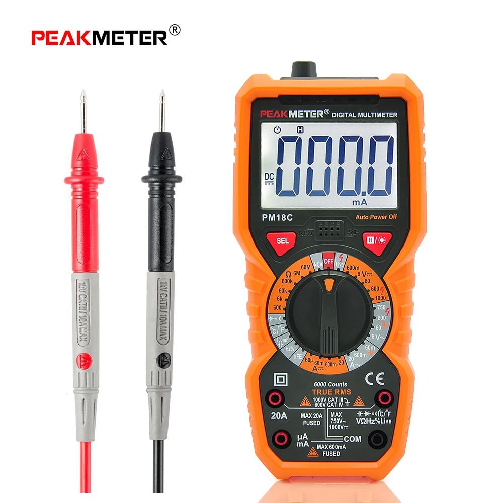 Peakmeter multímetro digital medición de tensión corriente resistencia capacitancia frecuencia temperatura HFE NCV Live line tester