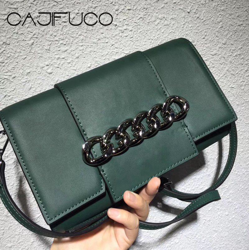 CAJIFUCO Vintage Gift Women Metal Chain Flap Bag Genuine Leather Chain Clutch Crossbody Bag Rock Chain Strap Bag Bolsa Feminina