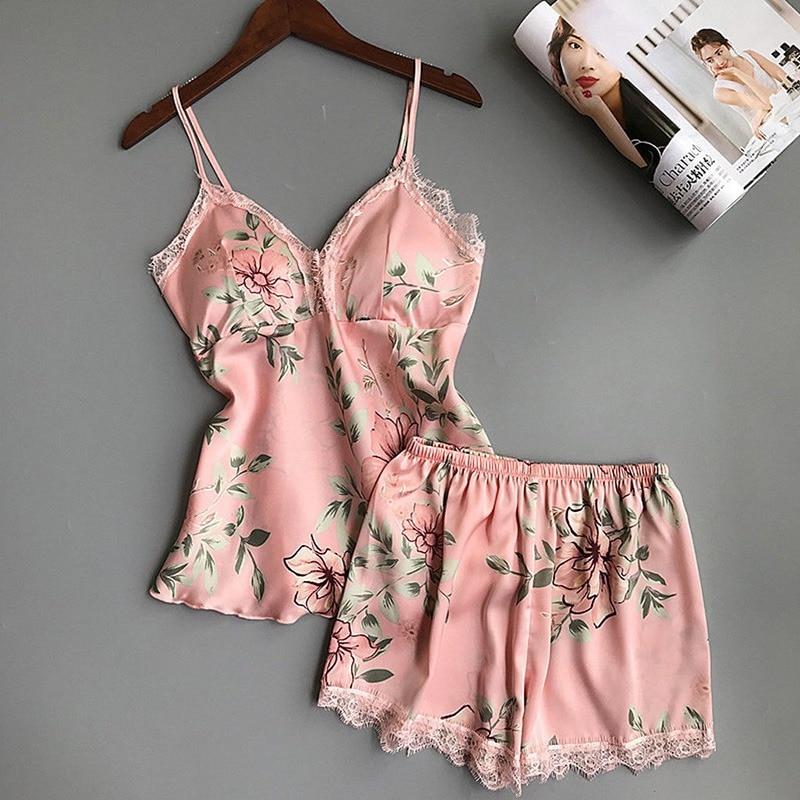 Womens Sexy Satin Lace Sleepwear Lingerie 2pcs   Set   Ladies Nightdress   Pajamas     Set