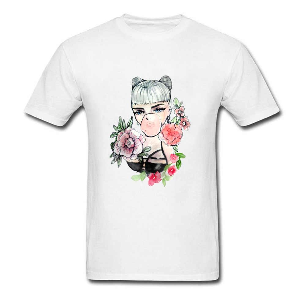 Pola Tshirt Pria Keren Desain Bubble Gum Seks Gadis T Shirt untuk Orang Dewasa Pin Up T-shirt 100% Katun Leher Bundar tee Shirt