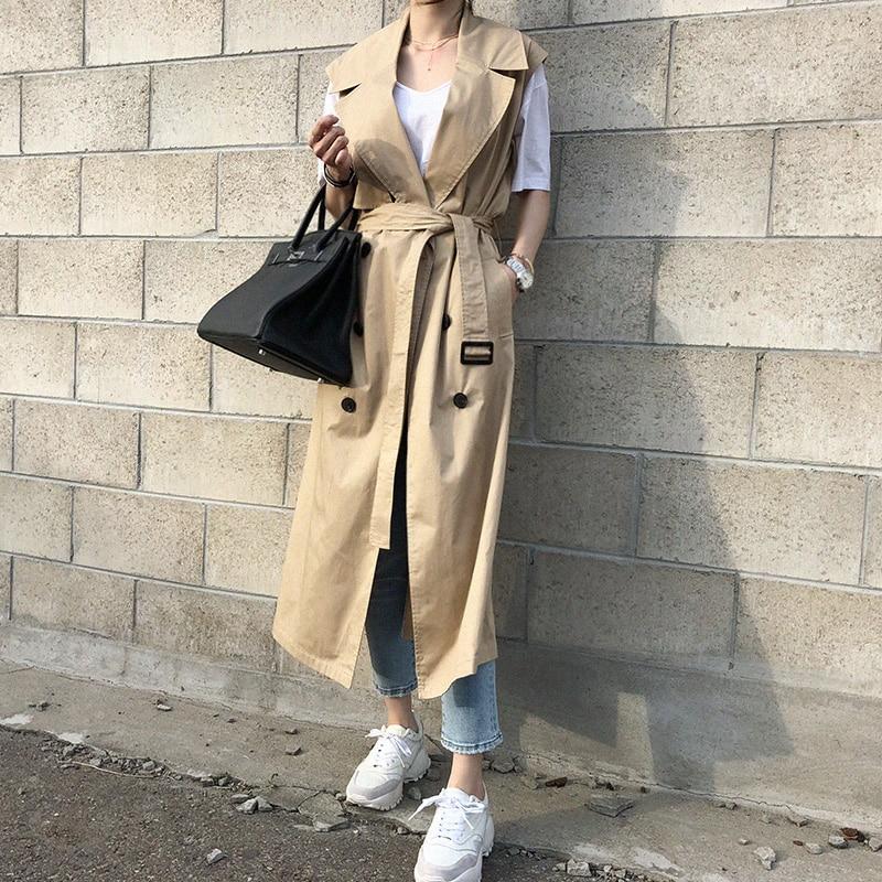 SuperAen Korean Style Sleeveless   Trench   Coat for Women Wild Cotton 2019 Spring and Autumn New Ladies Windbreaker Fashion