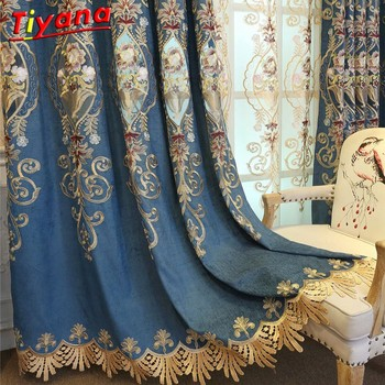 Blau Blackout Drapieren Schlafzimmer Luxus Lila Dicken Chenille Tuch Room Decor Sheer Stickerei Tüll Livngroom Bereit Made Custom * 40