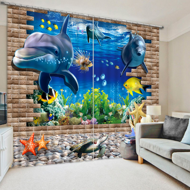 Customize 3D Curtains Cartoon Seabed Shark Mermaid Pattern Blackout ...