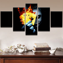 5 Panel Painting Abstract Art Wall Pictures Frame Home Room Decor Canvas Art Print Movie Batman Joker Flame Poker Poster Bedroom(China)