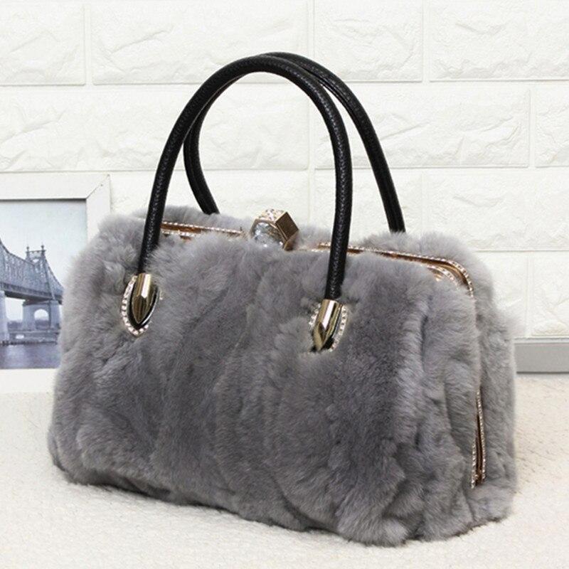 Здесь можно купить  2018 New Winter Rabbit fur handbag shoulder Luxury handbags women bags designer Diamonds Messenger Bag Fashion Real Fur Bags  Камера и Сумки