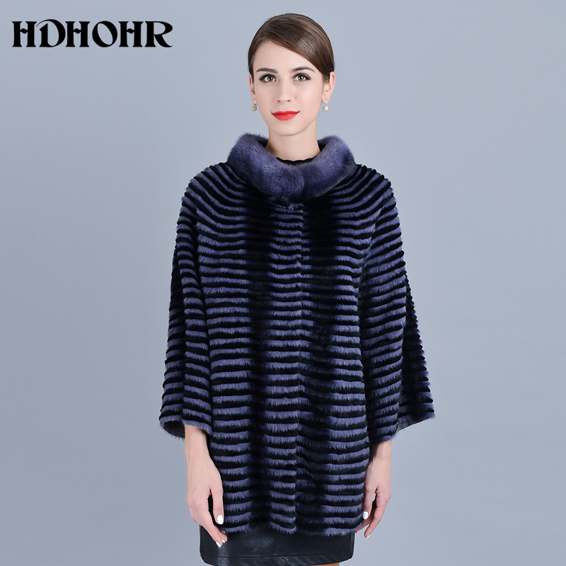 HDHOHR 2019 New Real Mink Fur Coats Women Bat Style Warm Natural Short Noble Kintted Jackets  For Female