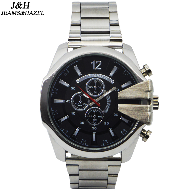 JH 새로운 최고 호화 시계 남자 상표 남자의 시계 매우 큰 스테인리스 메쉬 악대 석영 손목 시계 유행 시계