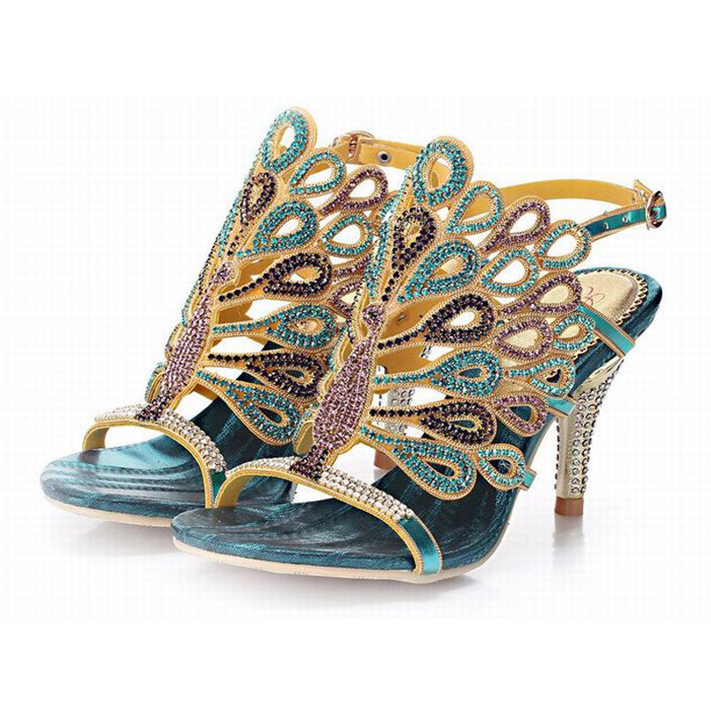 ФОТО 2016 new fashion crystal peacock rhinestone high heels sandals open toe hollow buckle summer pumps women shoes big size 34-44