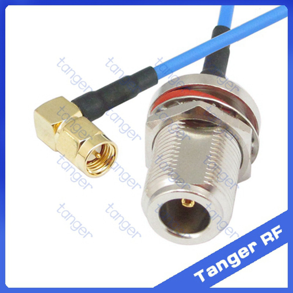 SMA male right angle to N female waterproof connector with RG405 RG086 Coaxial Jumper blue cable 8inch 8 20cm RF Low Loss Coax mcx male right angle to n female bulkhead with o ring cable rg316 for wireless rf coaxial jumper cable connector
