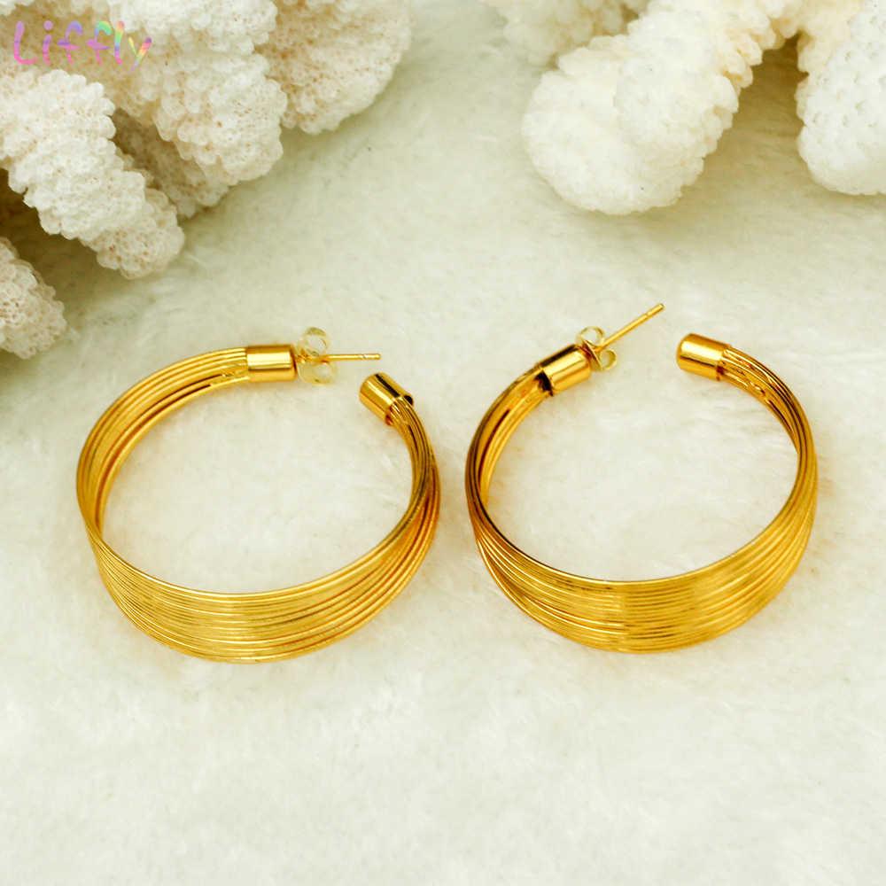 Liffly dubai conjunto de jóias para mulheres presente de noiva moda metal fio gargantilha colares pulseira brincos anel vestido de casamento jóias