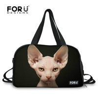 FORUDESIGNS 3D Hairless Naked Cat Luggage Travel Bag for Women Large Nylon Travel Duffle Tote Bags with Shoe Pocket 2019 Custom