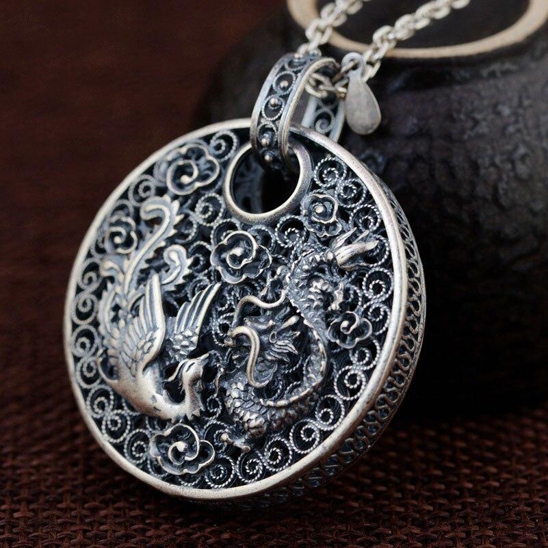 FNJ 925 Silver Phoenix Pendant Dragon Animal Good Luck 100 Pure S990 Solid Thai Silver Pendants