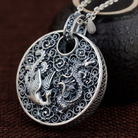 FNJ 925 Silver Phoenix Pendant Dragon Animal Good Luck 100% Pure S990 Solid Thai Silver Pendants for Women Men Jewelry Making