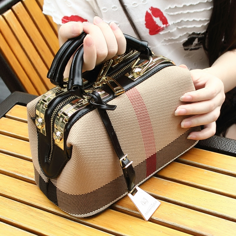 Plaid Canvas Bag Women Fashion Handbag 2017 Woman Crossbody Shoulder Bag Doctor Bag Purse Big Capacity Lady Designer Hand Bags