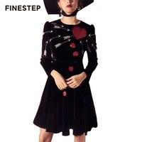 Зимнее Роскошное дизайнерское платье женское 2018 шикарное женское модное Платье черное с круглым вырезом с длинным рукавом Миди Платье с пр