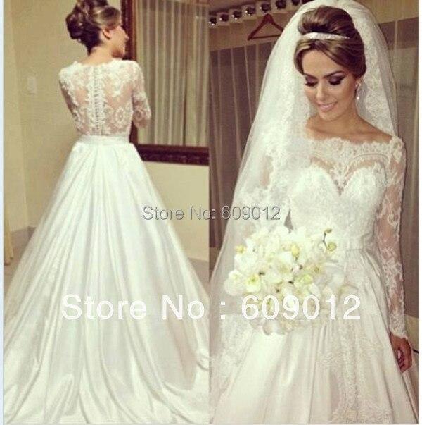 AWL3578 Elegant Long Sleeve Lace Made To Order Chapel Train Muslim Wedding Dresses 2014 China