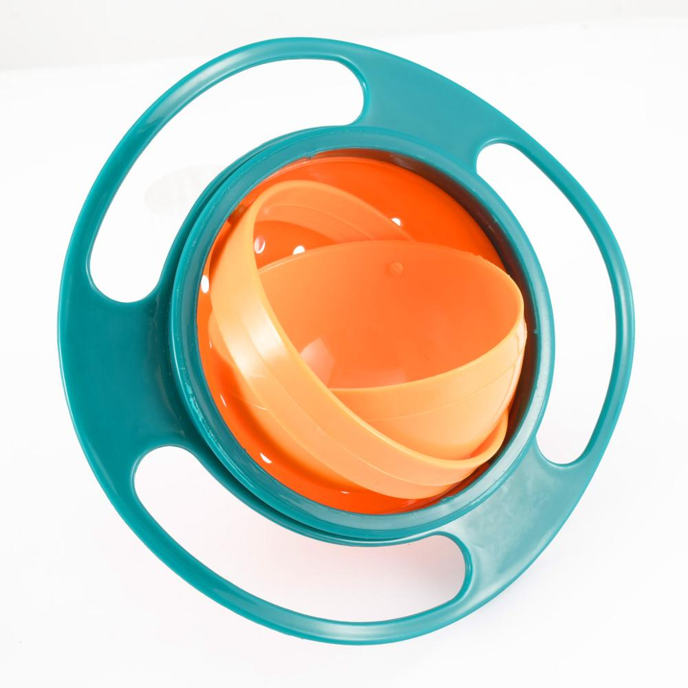 360 Degree Universal Bowl Blue Pink Color Baby Plate Feeding Food Platos Spill Proof Balance Kids Dish Baby Bowl