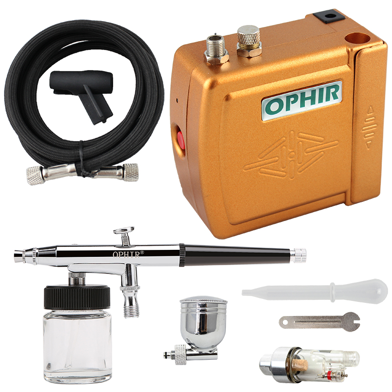 OPHIR DC 12V Airbrush Compressor Set 0 3mm Dual Action Airbrush Kit with Air Compressor Makeup