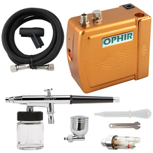 OPHIR Free Shipping New DC 12V 0.3mm Dual Action Golden Airbrush Kit Air Compressor Nail Art Makeup #AC003G+AC005+AC011