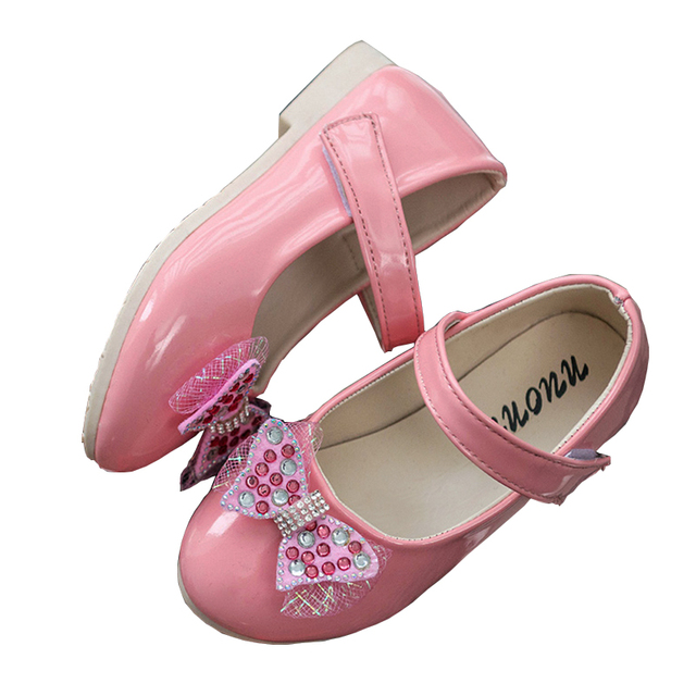 WENDYWU Girls Leather Shoes New Autumn 2017 Fashion Bow Dress Shoes For  Girls Paint Light Skin 3fbfff7f7491