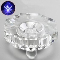8 5x4cm 7 LED White Light Lamp Bases Unique Crystal Display Glass Arts Lamp Base Stand