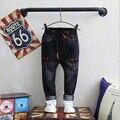 Высококачественный Мальчик джинсы джинсовые брюки дети 2016 осень Корейской версии твердое вещество промывают джинсы