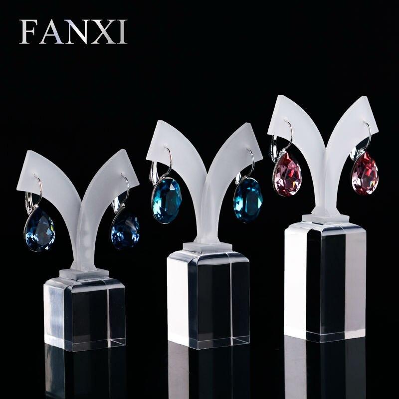 Fanxi Бесплатная доставка Высокая прозрачность акриловые дно и матовый топ Jewelry Show Case Серьги Экспонент 3 шт./компл. Серьги держатель