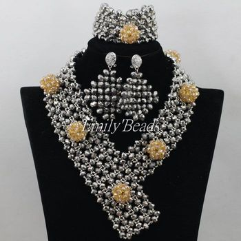 2015 Amazing  Nigerian African Wedding Beads Jewelry Set Champagne Gold Crystal Bridal Necklace Set Free Shipping AIJ341