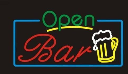 Custom Open Bar Wine Glass Neon Light Sign Beer Bar
