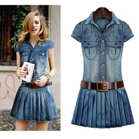 New Summer Women Dresses Plus Size Fashion Turn Down Collar Casual Solid Belt Slim JEANS DRESS For Women Large Denim One Piece