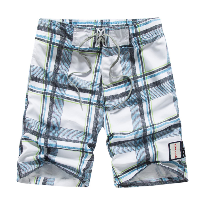 High quality board shorts mens surf masculina Summer plus size plaid board shorts men Beach wear quick-drying pants men