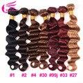 8A Grade Loose Deep Brazilian Hair Weave Bundles 4pcs Lot #1 #1b #33 #27 #30 #99j Red Wine Burgundy Brazilian Loose Deep Wave