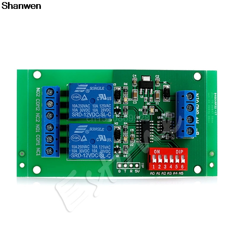 1pc 2Channel RS485 Relay Board Modbus RTU AT DC 12V Command Switch Module PLC Motor