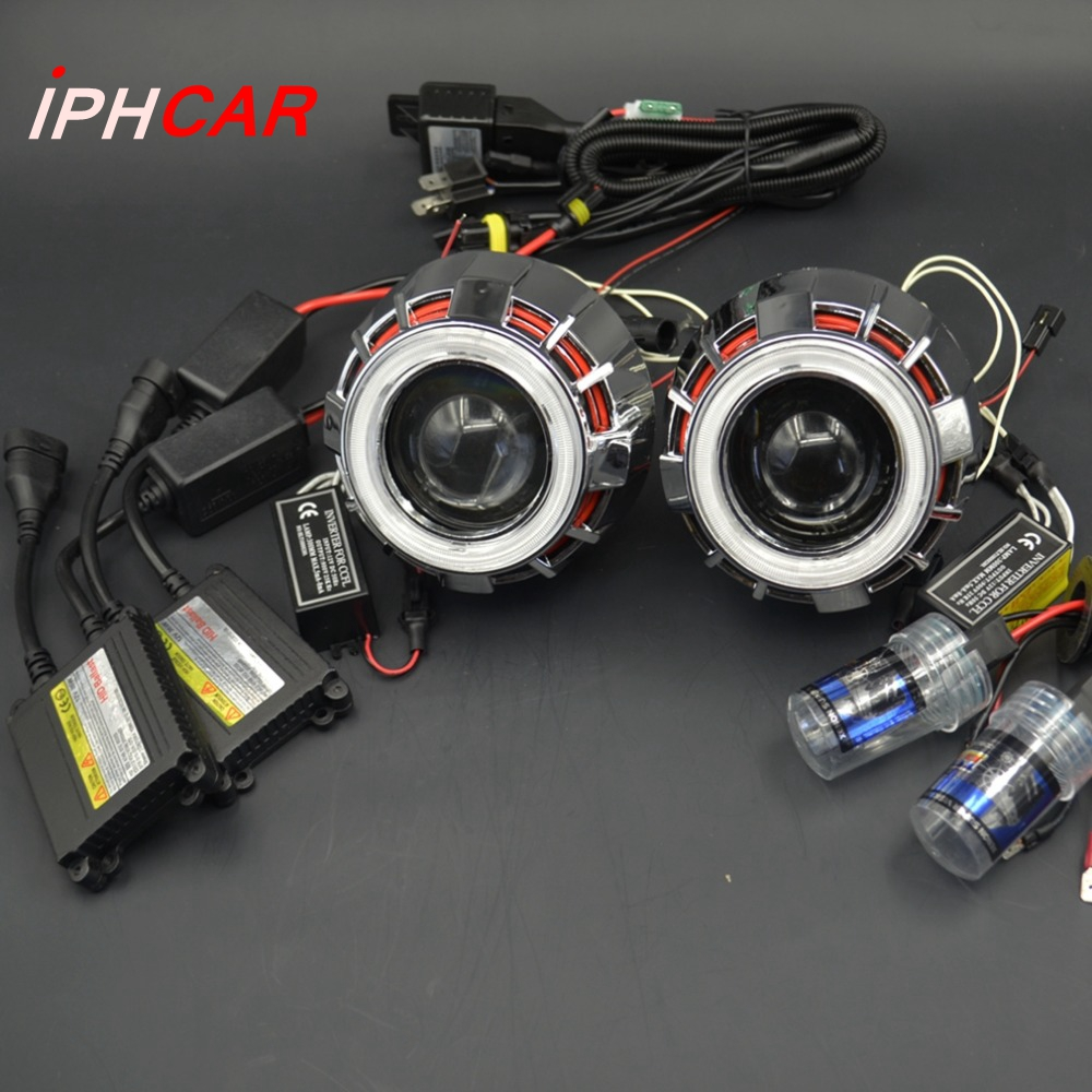 2.5inch bixenon Projector Lens Light Double Angel Eyes DRL hid xenon kit xenon bulb ballast  fit for H1 H4 H7 car headlight lhd 3 inch hid bixenon projector lens double angel eye ccfl h7 h4 2pcs 35w slim ballasts 4300k 6000k 8000k use h1 xenon bulb