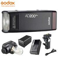 В наличии Godox AD200Pro карманный фонарик 200Ws ttl 2,4 г 1/8000 HSS 500 Полный мощность вспышки 0,01 2,1 s переработки 2900 мАч батарея