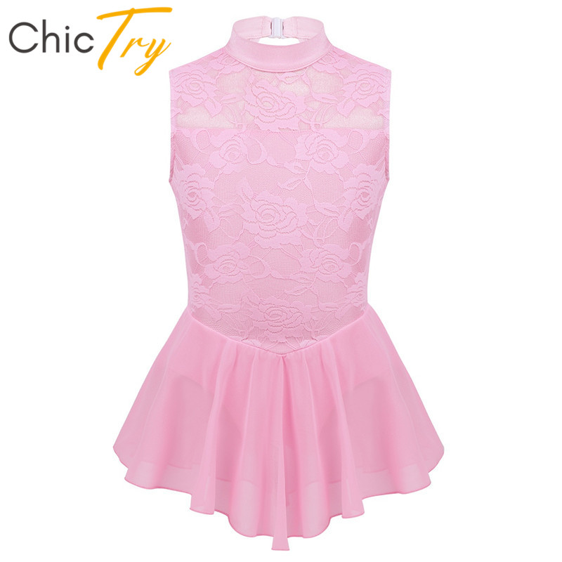 ChicTry Kids Girls Sleeveless Floral Lace Figure Ice Skating Dress Tutu Ballet Gymnastics Leotard Children Lyrical Dance Costume