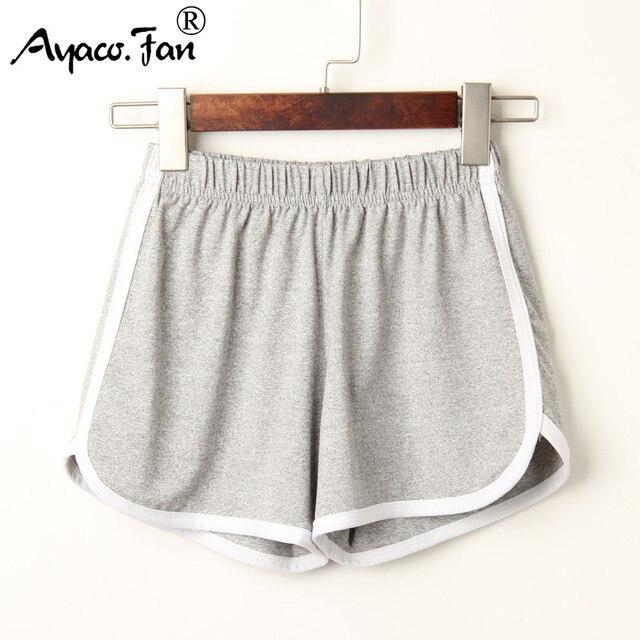 Pantalones cortos deportivos para mujer verano 2019 pantalones cortos casuales cómodos transpirables cintura elástica pantalones cortos colores caramelo para mujer