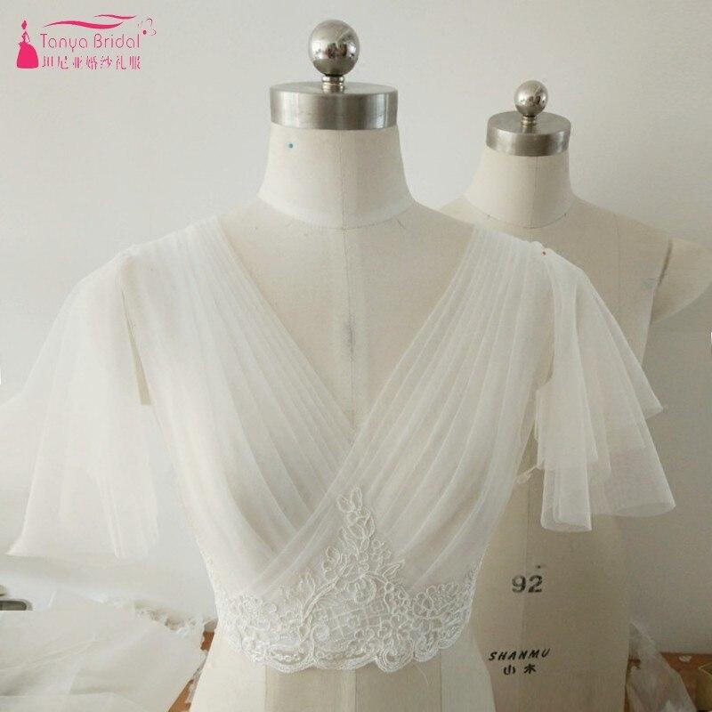 V Neck Tulle Lace Appliques Wedding bridal Jacket Ivory Lace up Back Bride Bolero In Stock
